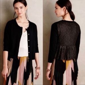 Anthropologie Knitted Knotted cardigan black lace